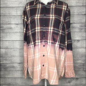 Upcycled Distressed Bleached Plaid Flannel SZ XL